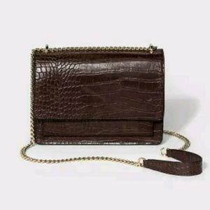 Brown Faux Leather Lizard Patterned Purse NWT